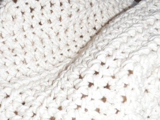 white crocheted scarf