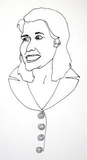 ink drawing of a woman
