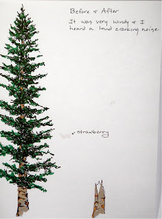 ink drawing of before and after of a pine tree