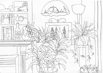 ink drawing of a home interior