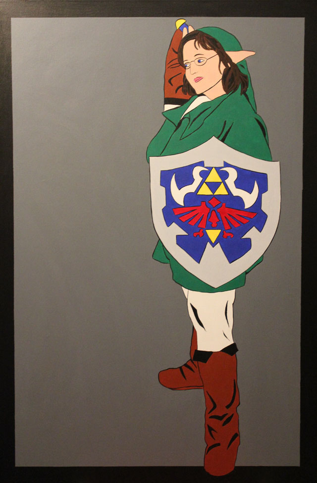 Painting of a young woman dressed as Link form Zelda