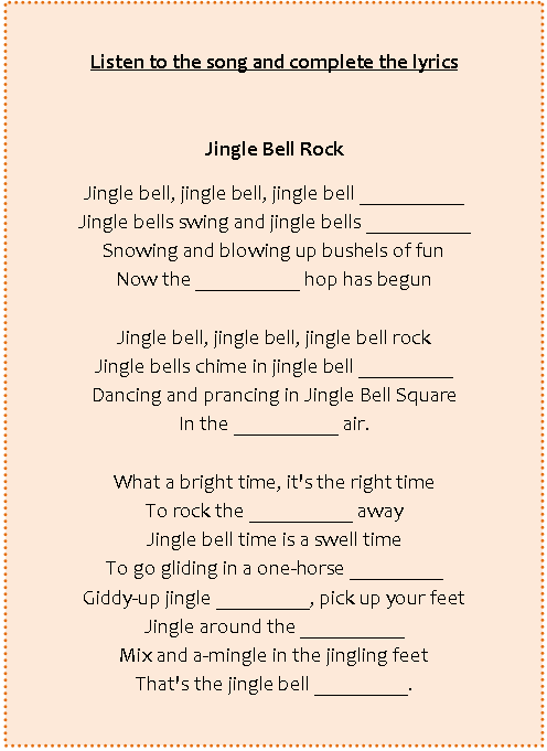 letra jingle bells ingles: