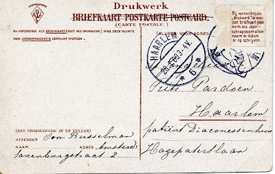 Address side of postcard