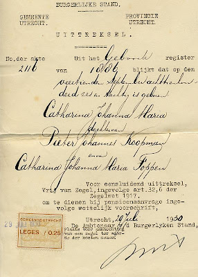 Extract of the birth certificate of Catharina Johanna Maria Koopman