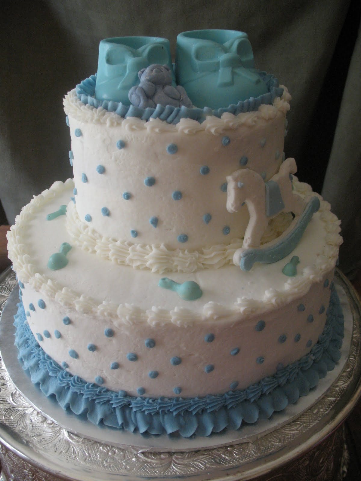 this baby shower cake was an almond butter cake with buttercream icing