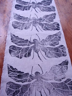 block printed fabric, dragonfly, handmade