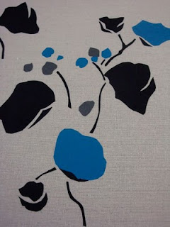 screen printed fabric, repeat, flower, handmade