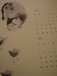 2011 calendar, sumi ink illustrations, cat, mizu designs