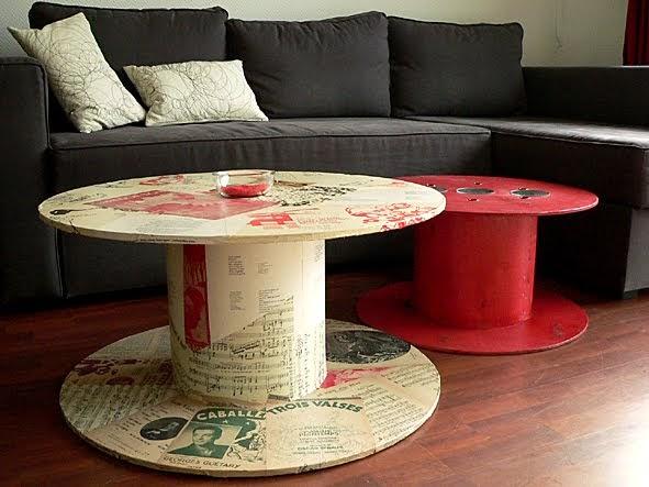 Les dedees vintage recup creations table basse quand la bobine fait salon by ben - Table basse vieux bois ...