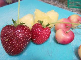 Strawberries, Rainier cherries, pineapple