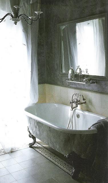 Côté Sud, Dec200-Jan2001 clawfoot bath, white sheers edited by lb for linenandlavender.net - http://www.linenandlavender.net/2009/07/sorrow-can-be-alleviated-by-good-sleep.html