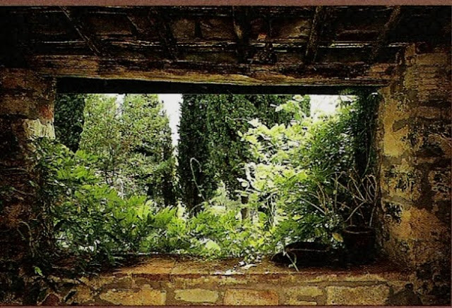 Stone-framed view, Tuscany Interiors, as seen on linenandlavender.net