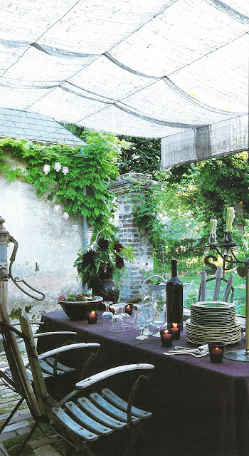 Ct Ouest Aout-Sept 2003  outdoor dining edited by lb for  linenandlavender.net, here:  http://www.linenandlavender.net/2009/08/and-livin-is-easy.html
