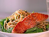 Whole Wheat Spaghetti with Salmon, Lemon and Basil as seen on  linenandlavender.net, here:  http://www.linenandlavender.net/2009/08/and-livin-is-easy.html