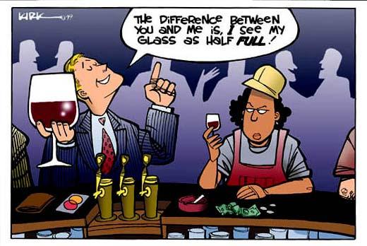 glass half full. Is the glass half full or half