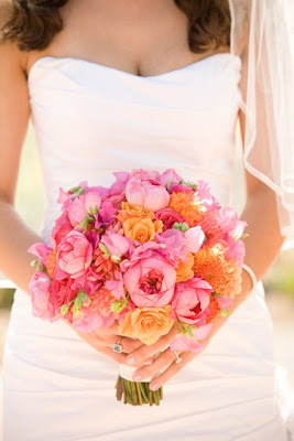 Pink and orange wedding centerpieces