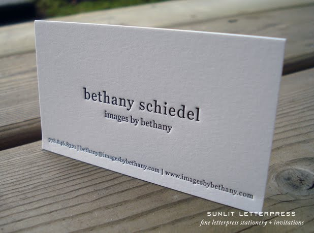 Adventures in letterpress fine letterpress stationery custom above is a photo of some letterpress business cards we created for vancouver wedding photographer bethany schiedel her work is just beautiful be sure to colourmoves