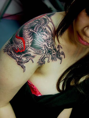 Beautiful Japanese Dragon Tattoo with Colorful Design
