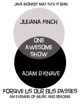 Flyer for the Adam P Knave and Juliana Finch performance, Forgive Us Our Bus Passes. It's a Venn diagram, with Adam in one circle, Juliana in the other, and 'one awesome show' where they meet.