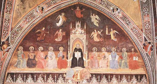 Detail of Andrea da Firenze's Triumph of Thomas Aquinas over Heresy, c. 1365, fresco in the Spanish Chapel, Santa Maria Novella, Florence