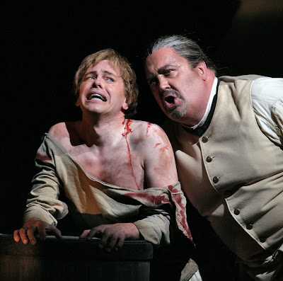 Keith Jameson (Novice) and Peter Rose (Claggart) in Billy Budd, Santa Fe Opera, 2008 (photo © Ken Howard)