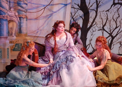 (L to R) Anne-Carolyn Bird (Naiad), Marjorie Owens (Ariadne), Leena Chopra (Echo), and Jamie Van Eyck (Dryad) in Ariadne auf Naxos, Wolf Trap Opera, 2008 (photo by Kim Pensinger Witman)