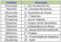Calendário, Excel, 2013, Feriados