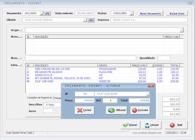 Software, Visual Basic, Excel, vba, macro, Orçamento, Cadastro