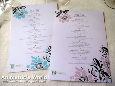 His and Hers Valentine menu from Chef David Pardo De Ayala at Restaurant Verbena