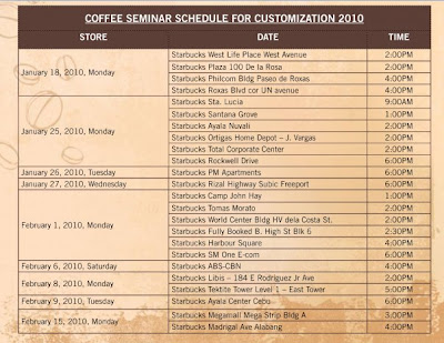 Starbucks coffee seminar schedule