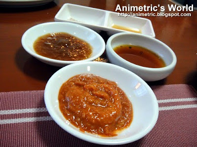 Dipping sauces at Dong Won Korean Restaurant