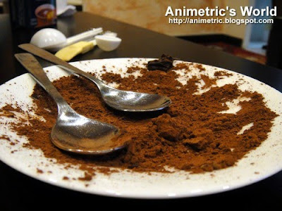 Cocoa powder on a plate