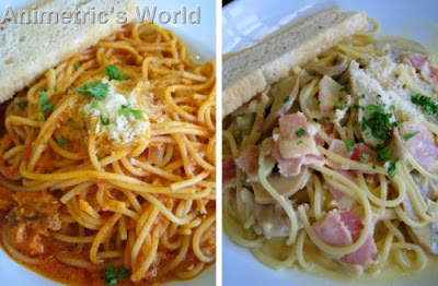 Penne Al Salmone Affumicato and Spaghetti Alla Carbonara at Amici