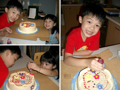 Kenshin and Keirra with Goldilocks' DIY cake