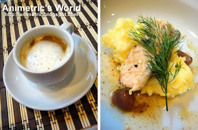 Prawn Bisque and Salmon Confit in Infused Almond Oil with Mashed Potatoes at AICA The Academy for International Culinary Arts