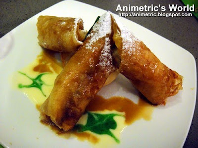 Turon with Langka topped with Ice Cream and Caramel Sauce at Asya Restaurant