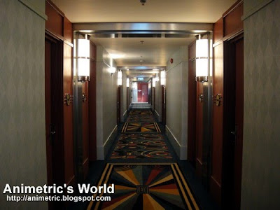 Hallway to guestrooms at Disney Hollywood Hotel