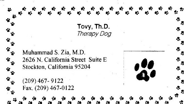 My Latest Therapist's Business Card