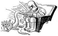 One of the illustrations accompanying the original publication in Astounding Science Fiction magazine, November 1944 issue, of short story Alien Envoy by Malcolm Jameson. Image shows the Ursan envoy shaking hands with human representative after signing the treaty.