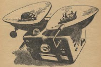 An illustration accompanying the original publication of the short story Business as Usual, During Alterations by Ralph Williams in July 1958 issue of Astounding Science Fiction