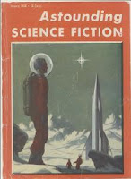 Cover image by Van Dongen of Astounding Science Fiction magazine, January 1956 issue