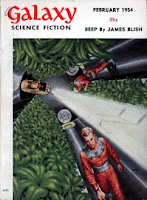 Cover image of Galaxy Science Fiction magazine, February 1954 issue, by EMSH showing spaceship hydroponics room.