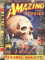 Front cover image of Amazing Stories, March 1944 issue. A painting by J Allen St John, illustrating a scene from short story It's a Small World by Robert Bloch.