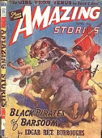 Front cover image of Amazing Stories magazine, June 1941 issue. A painting by J Allen St John, illustrating a scene from the novel Black Pirates of Barsoom by Edgar Rice Burroughs.