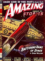 Front cover image of Amazing Stories magazine, February 1941 issue. A painting by Leo Morey, depicting a scene from the novel Battering Rams of Space by Don Wilcox.