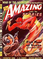 Front cover image of Amazing Stories magazine, April 1940 issue. A painting by H R Hammond, depicting a scene from the story Fish Men of Venus by David Wright OBrien.