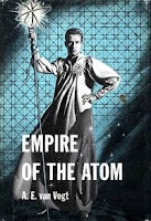 Cover image of the short story collection titled Empire of the Atom by A E van Vogt. Cover shows Lord Clane of Linn in his temple garb to hide his mutation, symbolically managing the Atom Gods.