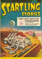 Cover image of the British edition of the magazine Startling Stories, number 8.