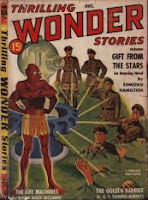 Cover image of the magazine Thrilling Wonder Stories, December 1940 issue. It is a painting by E K Bergey, depicting a scene from the story The Life Machines by Manly Wade Williams.