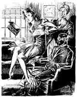 One of the illustrations accompanying the original publication in Amazing Stories of short story The Chameleon Man by William P McGivern